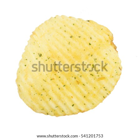 Rippled potato chips with herbs and spices isolated on white background. Snack for beer
