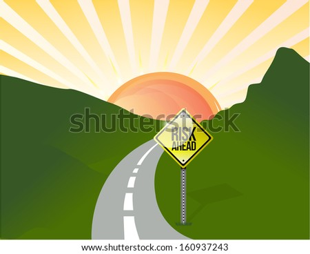 risk ahead road illustration design landscape background graphic