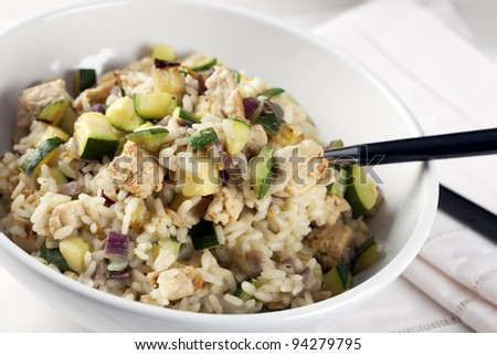 "Risotto with zucchini and vegetable based ""meat""."