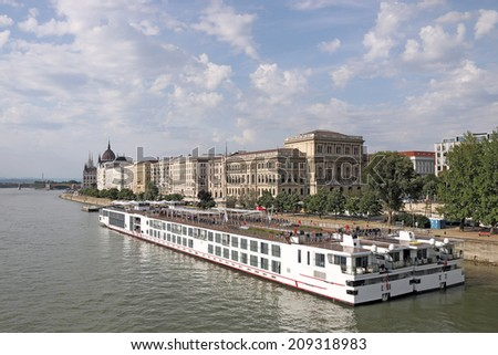 river cruiser ship on Danube river Budapest