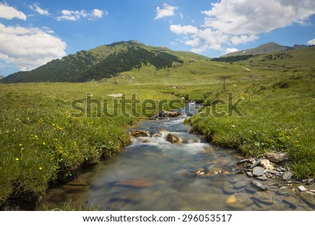 River in mountain valley with bright meadow. Natural summer landscape in baqueira beret, north of catalonia, spain, europe