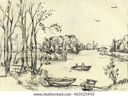 Vintage Sailboat Sketch Boats On Shore Delta G...