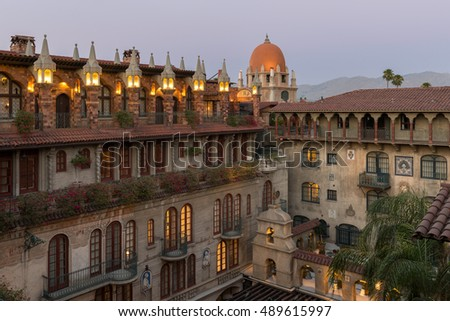 RIVERSIDE, CALIFORNIA - AUGUST 4: Courtyard at The Mission Inn Hotel & Spa on Mission Inn Avenue on August 4, 2016 in Riverside, California