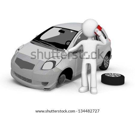 Road accident. 3d image isolated on white background.