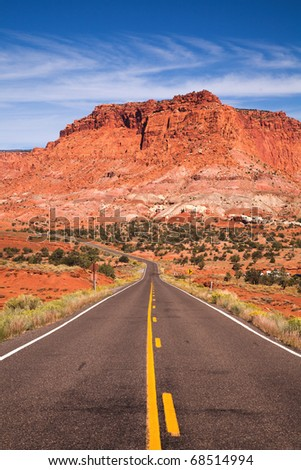 Road and rocks near Capitol Reef National Park, USA
