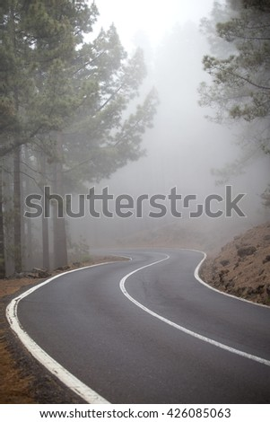road in the clouds in the mountains. Tenerife, Spain, Europe