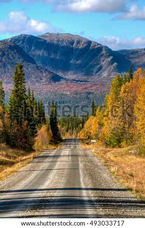 Road into the mountains with autumn colors