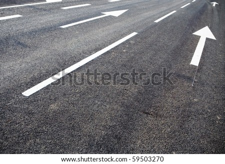 Road lanes with arrow markings