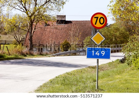 Road section of County Road 149 in Gotland, Sweden, speed limited to 70 km / h.