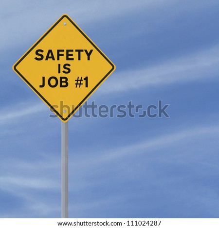 Road sign highlighting the importance of safety (against a blue sky background with copy space)