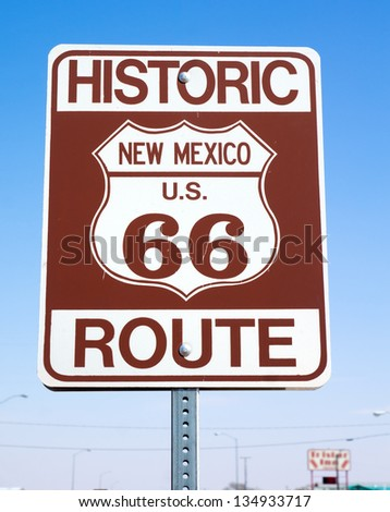 "Road sign  ""Historic route 66, New Mexico US"""