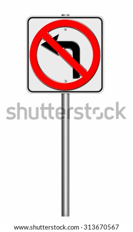 road sign isolate on white background