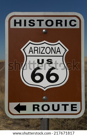 Road sign marking the historic route sixtysix in Arizona, USA