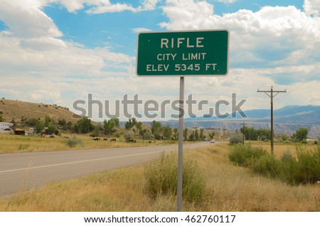 Road sign of Rifle, Colorado