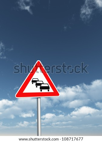 road sign traffic jam under cloudy blue sky - 3d illustration