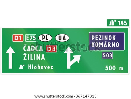Road sign used in Slovakia - .