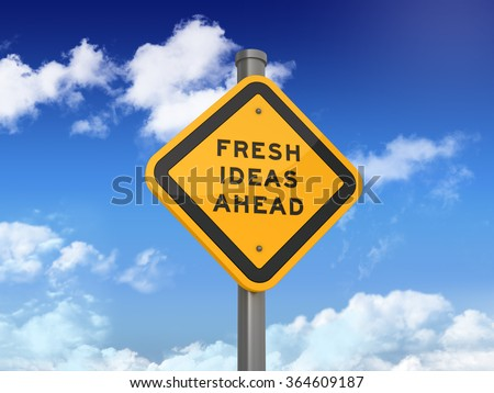 Road Sign with FRESH IDEAS AHEAD Text on Blue Sky and Clouds Background - High Quality 3D Rendering