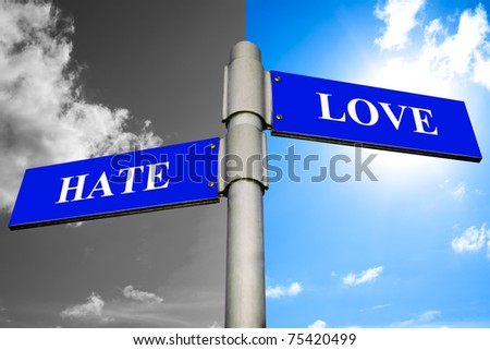 Road signs showing the ways to HATE and LOVE.