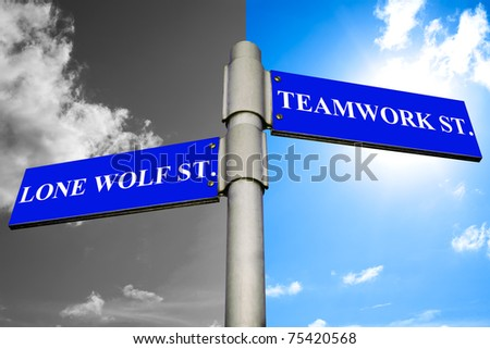 Road signs showing the ways to LONE WOLF and TEAMWORK.