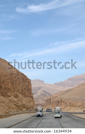 Road to Valley of the Kings where tombs of egyptian pharaohs are located, Luxor, Egypt