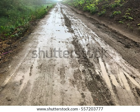 road wet muddy of backcountry countryside