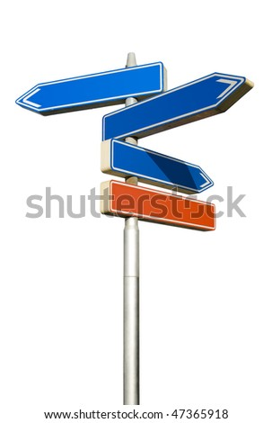 Roadsign with empty direction arrows isolated on white background (with clipping path)