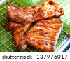 roast pork on the grill close up - stock photo
