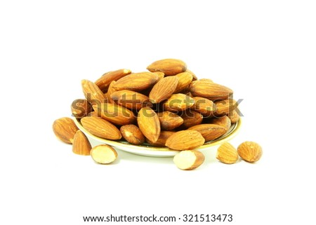 roasted almond in white background