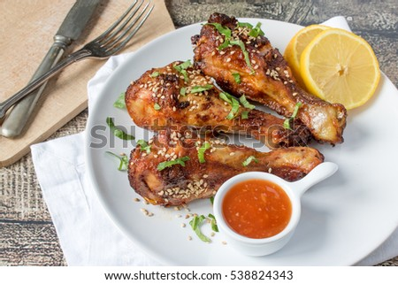 Roasted chicken legs with sesame