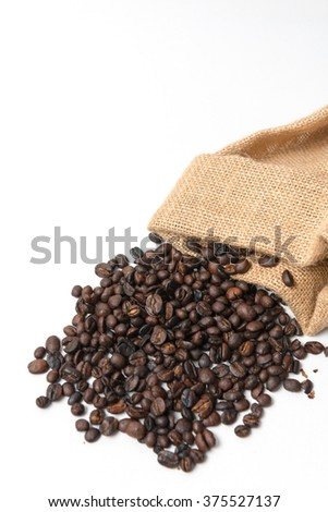 roasted coffee beans, isolated background.