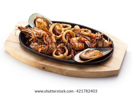 Roasted Seafoods - Shrimps, Mussels and Calamari Rings