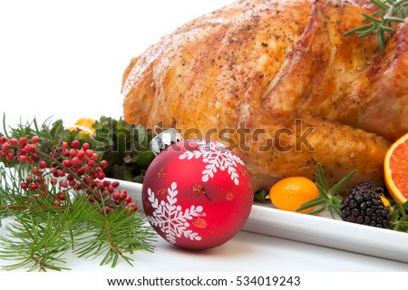 Roasted stuffed turkey garnished with fresh fruits and herbs for holiday dinner.