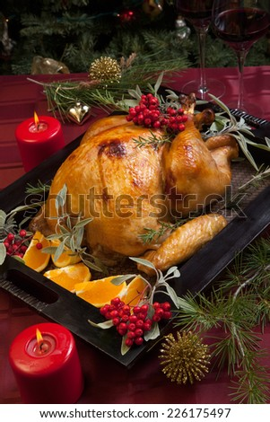 Christmas Dinner Roasted Chicken Winter Holiday Stock Photo ...