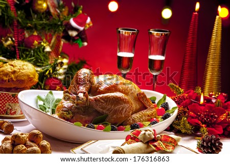 Roasted Turkey on Christmas Table