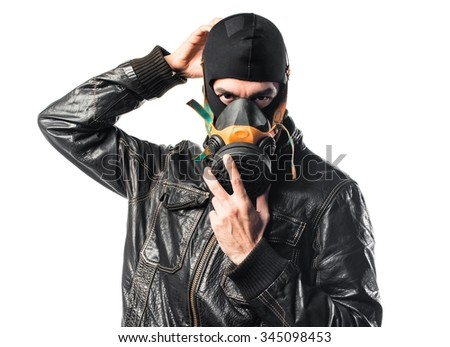 Robber with gas mask