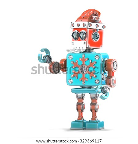 Robot Santa pointing at invisible object. Isolated over white. Contains clipping path