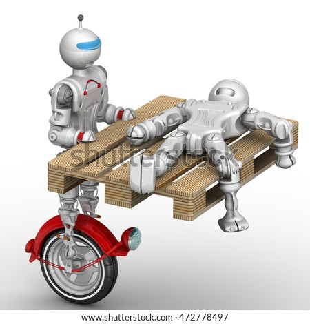 Robot transports the broken cyborg on the pallet. Isolated. 3D Illustration