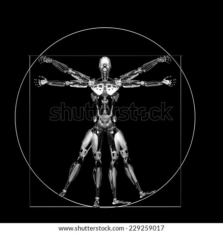 Robot - Vitruvian - Silver: A futuristic male humanoid robot in a Leonardo da Vinci Vitruvian style pose.  Isolated on a black background