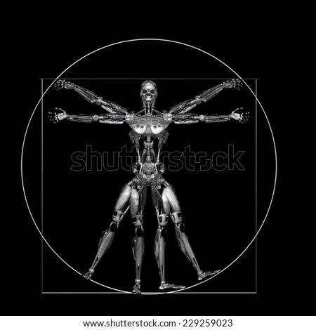 Robot - Vitruvian - Worn: A futuristic male humanoid robot in a Leonardo da Vinci Vitruvian style pose.  Isolated on a black background