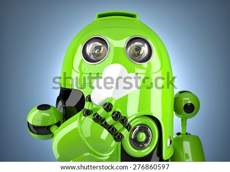Robot with cloud closeup. Cloud computing concept. Contains clipping path