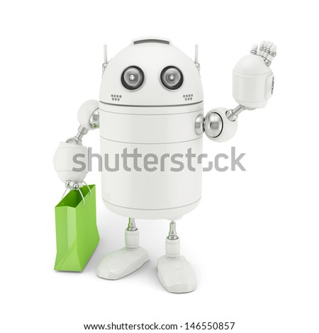 Robot with shopping bag. Rendered on white background