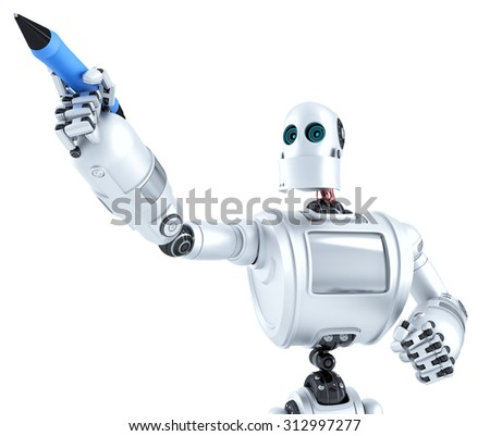 Robot writing on invisible screen. Closeup portrait. Isolated on white. Contains clipping path
