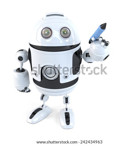 Robot writing with a pen. Isolated on white. Contains clipping path