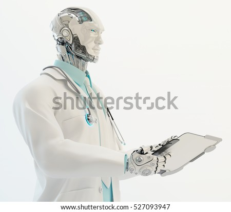 Robotic doctor in medical suit with stethoscope holding tablet, 3d render / Robot doctor