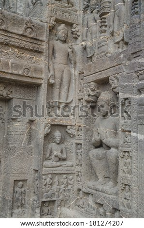 Rock carving Buddha life figures in Ajanta caves Aurangabad India
