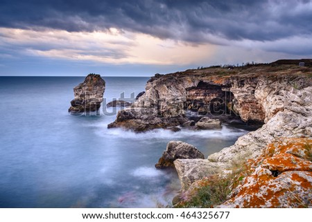 Rock formation near Tyulenovo, Bulgaria, Europe. Long exposure shot