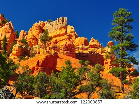 Rock formations in red canyon park in Utah near Bryce Canyon Park