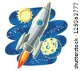 Rocket in Space -  rocket flying through Outer Space - raster version of vector file - stock vector
