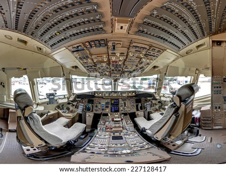 ROCKFORD, IL- JUNE 7: Boeing 767 aircraft cockpit on display at the June 2014 Rockford AirFest June 7, 2014 Rockford, IL