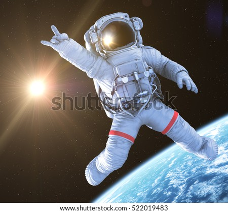 Rocking Astronaut on a black background, 3d render